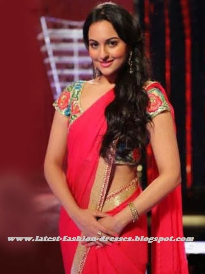 Bollywood actress sonakshi in pink saree