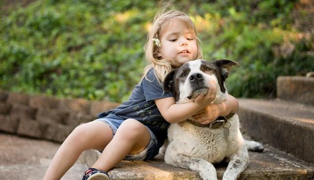 Foto anak kecil memeluk anjing peliharannya di taman