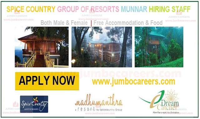 Spice Country Group of Hotels and Resorts Jobs Munnar, Hospitality Hotel Management Jobs in Munnar