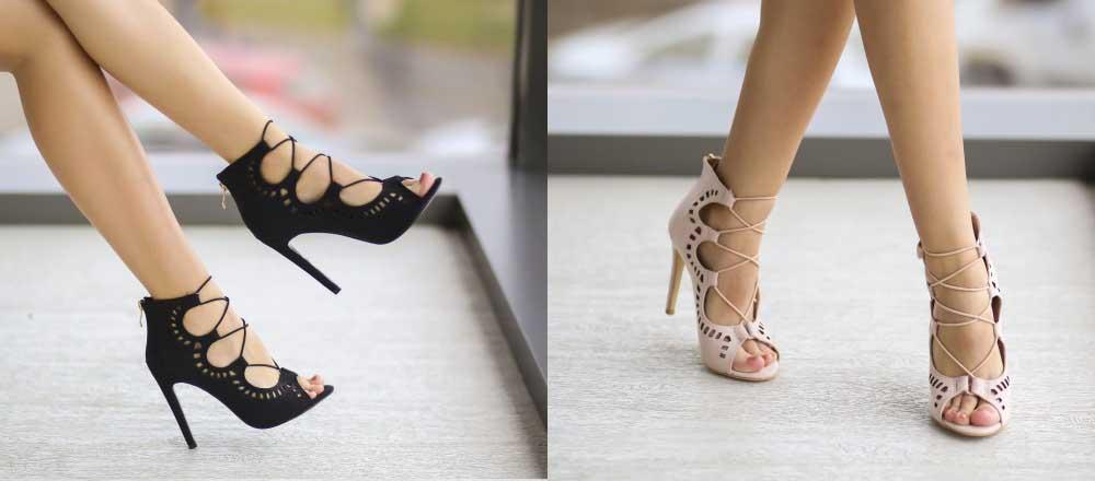 Sandale de zi/de ocazii elegante bej, negre cu toc inalt ieftine online 2017