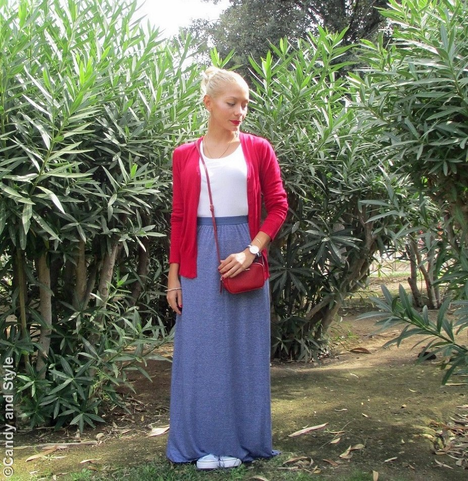 RedCardigan, StripedMaxiSkirt, WhiteTank, Sneakers, RedMiniBag - Lilli Candy and Style Fashion Blog
