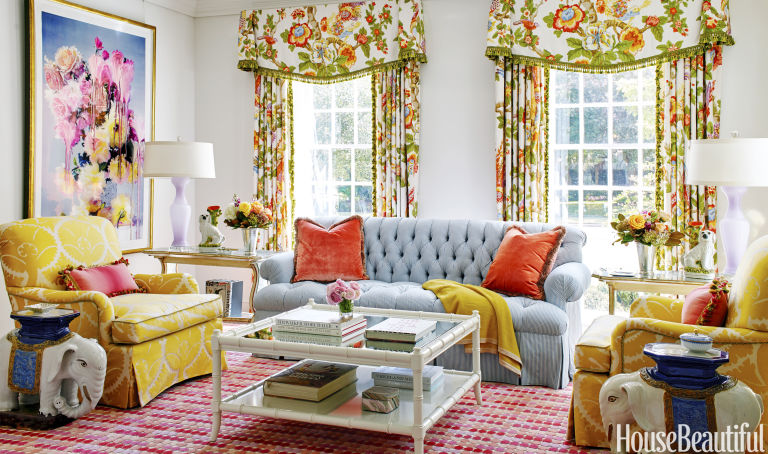 Bailey Lacquered The Walls And Ceiling Of The Living Room Using Benjamin  Mooreu0027s Chantilly Lace. The Curtains Are GP U0026 J Baker Fabric, And The  Custom Sofa ...