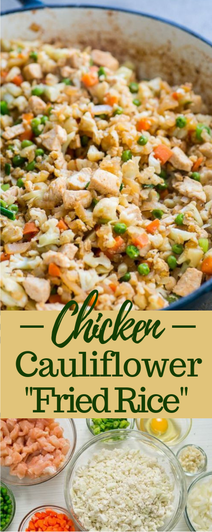 "CHICKEN CAULIFLOWER ""FRIED RICE"" #healthy #nocarb"