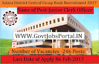 The Satara District Central Co-op Bank Ltd Recruitment 2017 – 246 Junior Clerk
