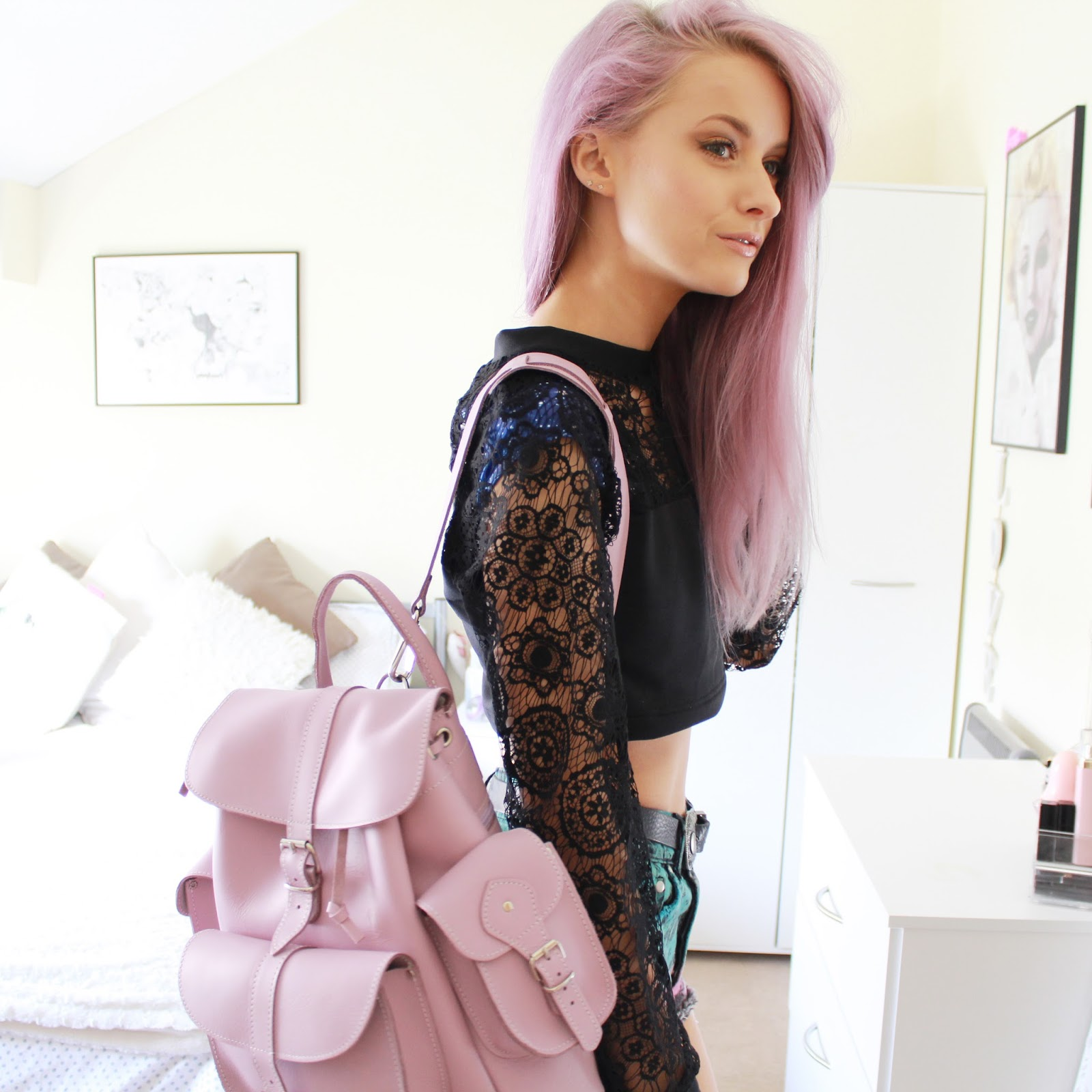 3837ace3550 Black Milk and Lavender Backpacks - Inthefrow