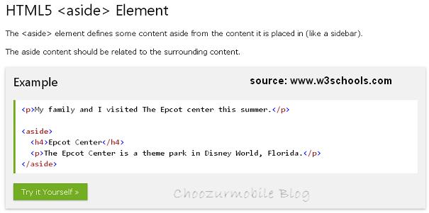 HTML <aside> element