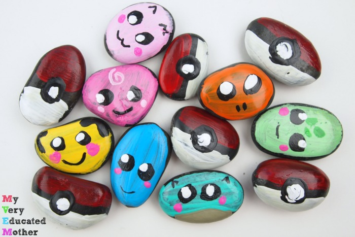 Share in the Pokemon craze by creating these colorful character rocks.