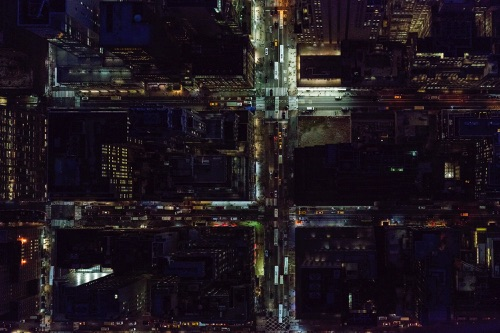 by Jeffrey Milstein - NYC Midtown | chidas fotos cool stuff - night aerial vision of NYC