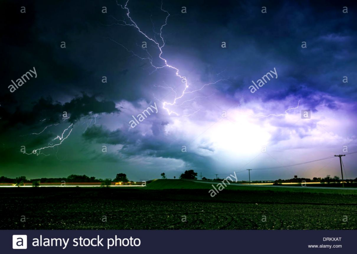 Tornado Alley Severe Storm at Night Time Severe Lightnings Above