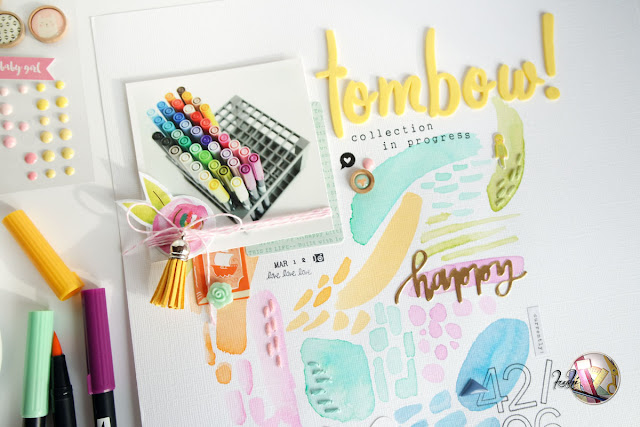 """tombow"" scrapbook layout by kushi per scrappiamoinsieme.blogspot.it"
