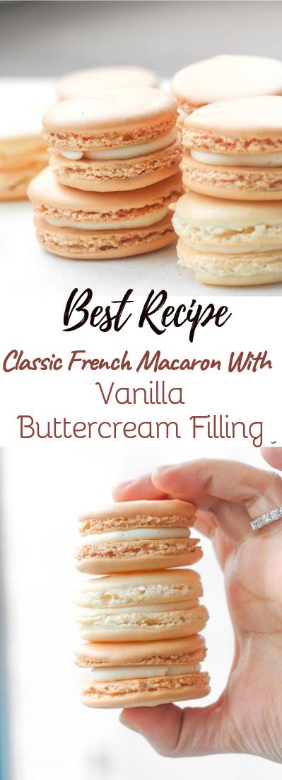 Classic French Macaron With Vanilla Buttercream Filling #desserts #cakerecipe