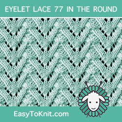 Norwegian Fir Lace stitch, easy to knit in the round
