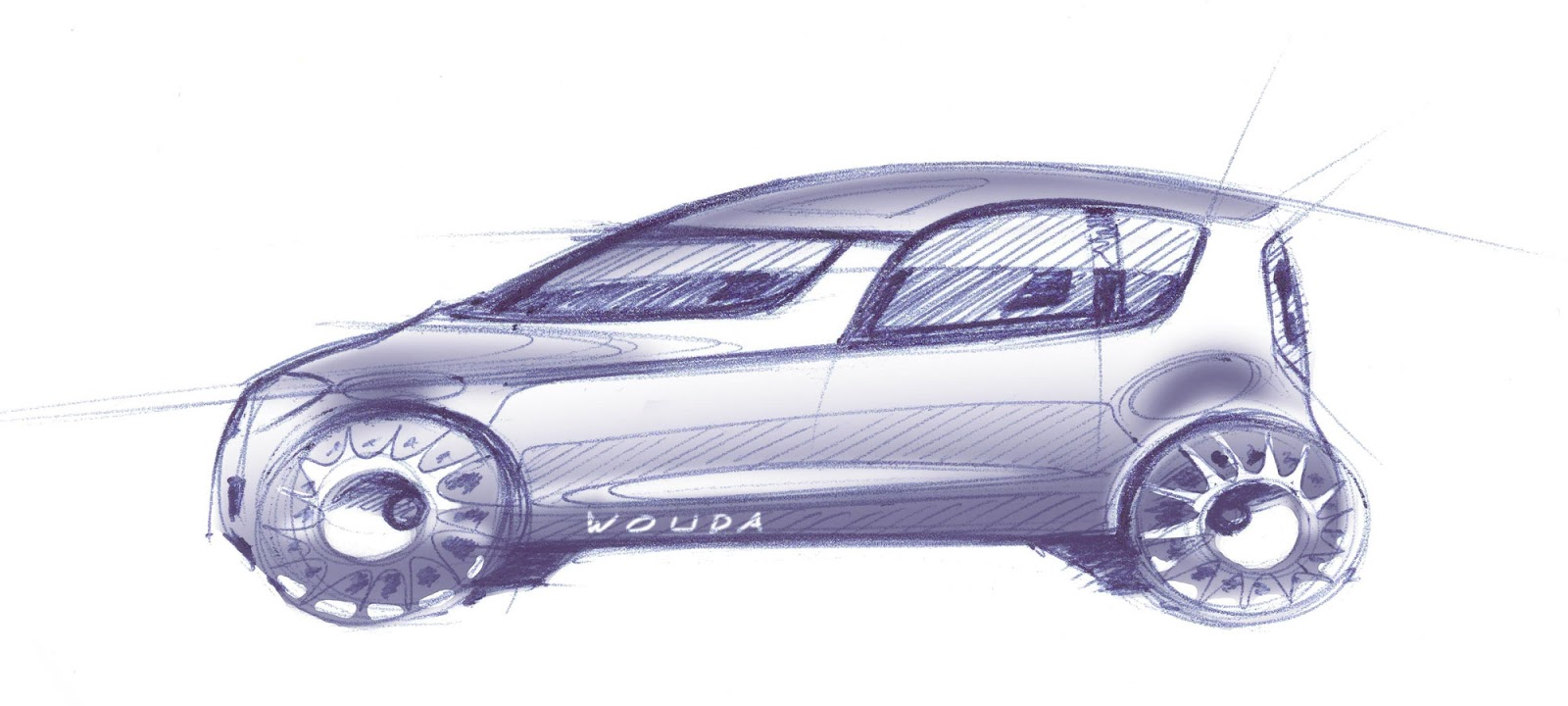 Skoda Roomster sketch by Peter Wouda - final theme, rough side view