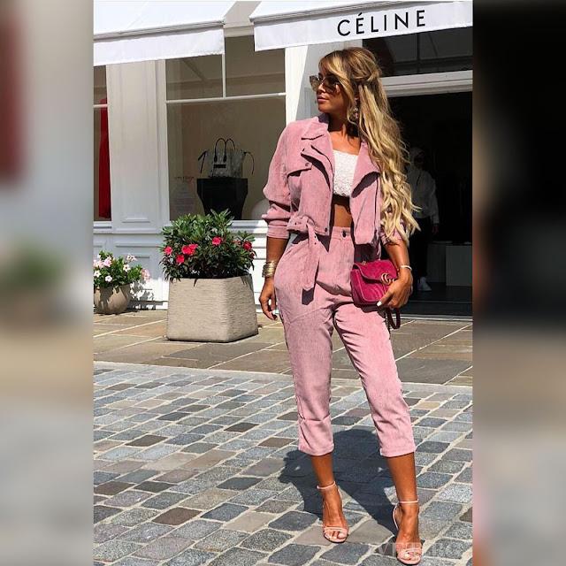 Γυναικείο ροζ σύνολο ERNESTINA - Μπουφάν και παντελόνι