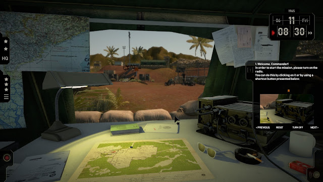 Map, radio and base in the background in computer game Radio Commander