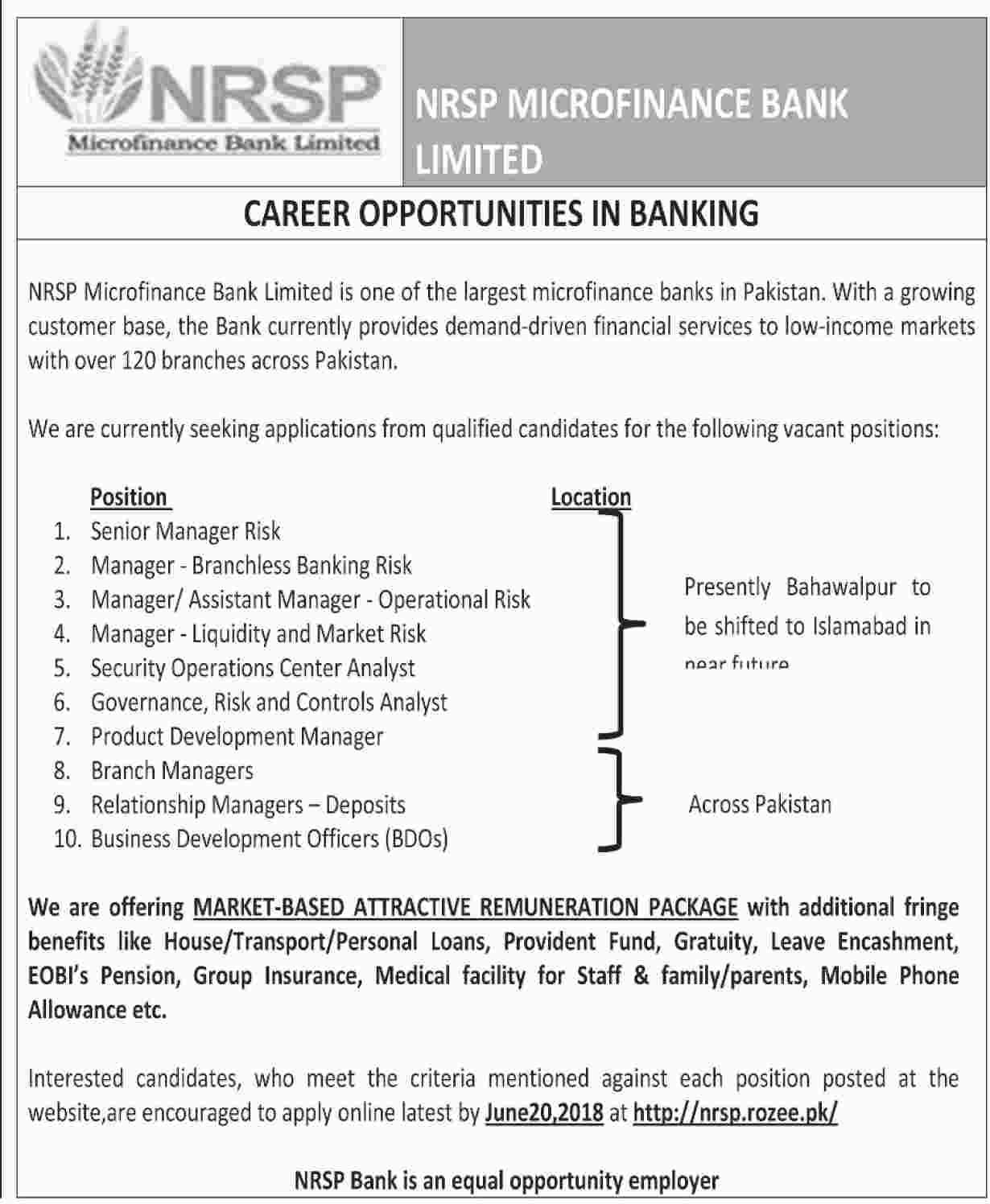 Jobs in NRSP Microfinance Bank Ltd | Apply Online