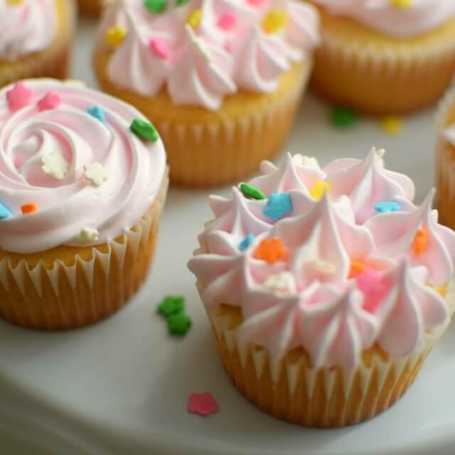 Cupackes de vainilla. Muffins y cupcakes