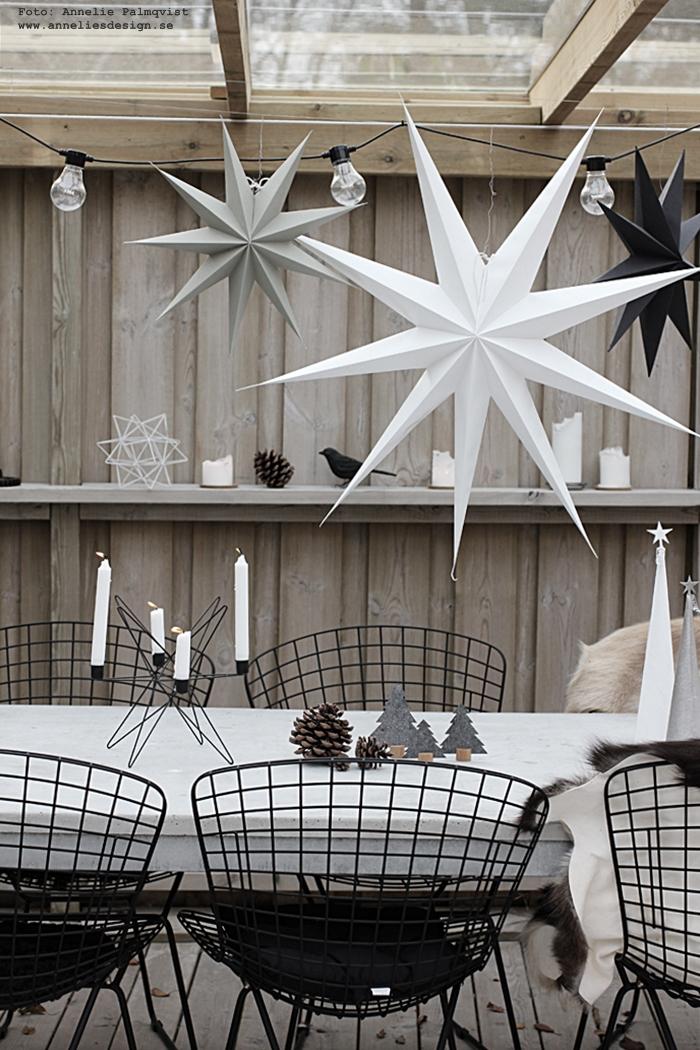 julpynta på altanen, trädäck, trädäcket, uteplats, uteplatsen, julen, jul, julpynt, julen 2016, advent, adventsstjärna, adventsstjärnor, stjärna, stjärnor, hänga över ett bord, ljusstake, ljusstkar, annelies design, webbutik, webbutiker, webshop, nätbutik, nätbutiker, nettbutikk, nettbutikker, inredning, betongbord, stolar, matplats, utemöbler, getskinn, skinn, fäll, Oohh granar, gran,