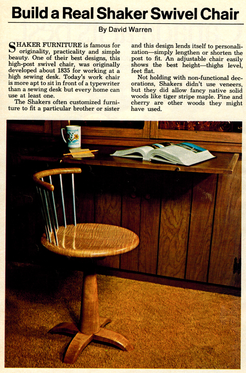 the shakers furniture. The Second Project Is Something Every Metalworker Can Use, Not Just For Lifting Engines. This Engine Hoist A Good Example (from April 1983 Popular Shakers Furniture