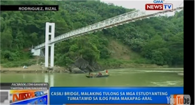 Through the help of  Foundation of Outstanding MAPUANS Inc. the suspension bridge has been built to serve these students. It is an early Christmas gift for the students of Casili Elementary School after their wish is granted to them. The Casili pedestrian suspension bridge was built for the students through the Foundation of Outstanding MAPUANS Inc.  GRAPHICS HERE Almost four years ago we saw the hardships of the students in Rodriguez Rizal just to attend school. Some of the students have to use bamboo rafts just to get to the other side of the river where their school is situated, while some have to wade through the waters.  Almost four years ago we saw the hardship of the students in Rodriguez Rizal just to get to their school. Some of the students have to use bamboo rafts just to get to the other side of the rive where their school is situated, while some have to wade through the waters.   Students of Casili Elementary School wade through the river just to attend school. Picture credit GMA Image result for casili elementary school  Check the video below from 2012 and see how things changed for these students.        Students on bamboo rafts cross a river to Casili Elementary School in Rodriguez, Rizal Almost four years ago we saw the hardship of the students in Rodriguez Rizal just to get to their school. Some of the students have to use bamboo rafts just to get to the other side of the rive where their school is situated, while some have to wade through the waters.   Some students on bamboo rafts cross the river to get to their school.  Picture taken June 3, 2013 Credit: GMA        Through the help of  Foundation of Outstanding MAPUANS Inc. the suspension bridge has been built to serve these students.