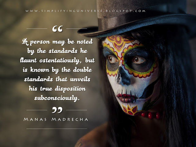 Manas Madrecha, quotes on hypocrisy, double standards, red indian woman, mask girl, simplifying universe, manas madrecha quotes, inspiration blog