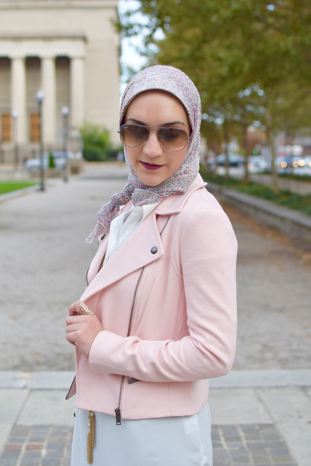 A Day In The Lalz; Fashion Blog; Modest Fashion; Fall Style; Veilure Coutoure; Hijab; Hijabi Fashion Blogger; Pastel medley wrap; Leather leggings; GiGi NY Clutch; Stila All Day Liquid Lipstick; Nordstrom Black Booties
