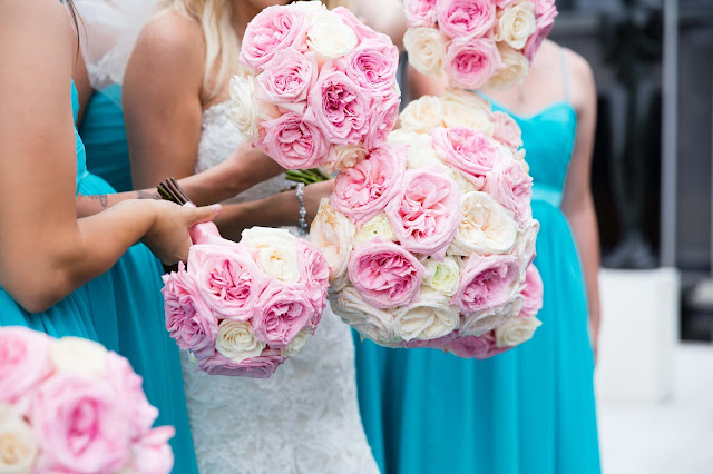 bridal party bouquets at wayne state McGregor Memorial Conference Center
