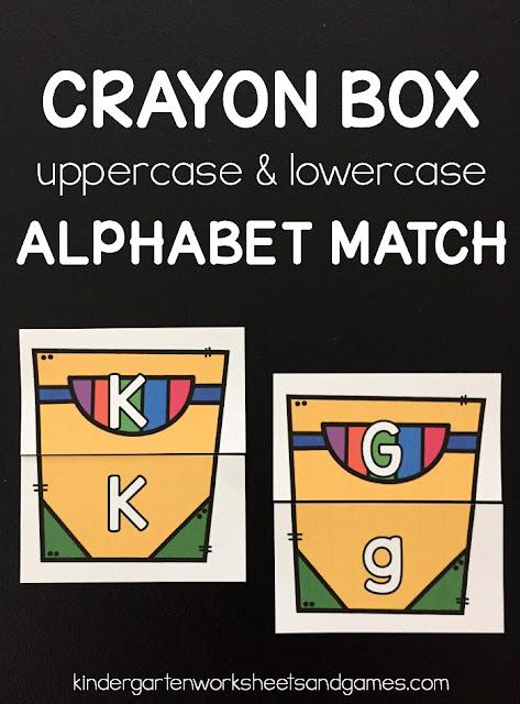 FREE Crayon Box Alphabet Match - this is such a fun back to school activity to help preschool, prek, and kindergarten age kids match uppercase letters with lowercase letters! #alphabet #backtoschool #kindergarten