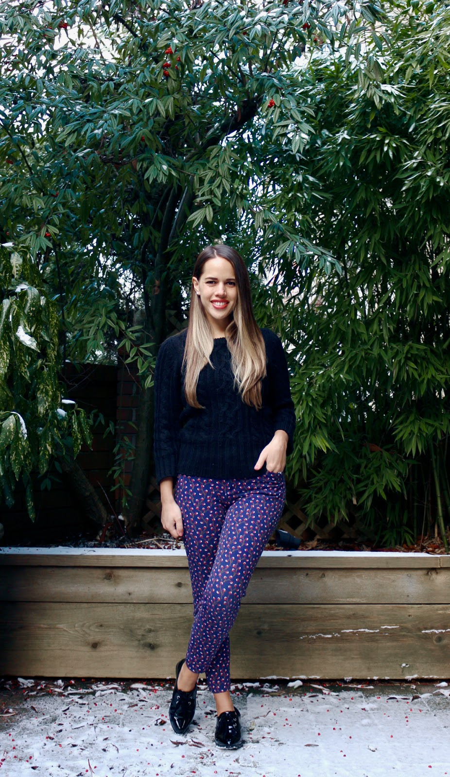 Jules in Flats - Patterned Ankle Pants + Cable Knit Sweater (Business Casual Winter Workwear on a Budget)