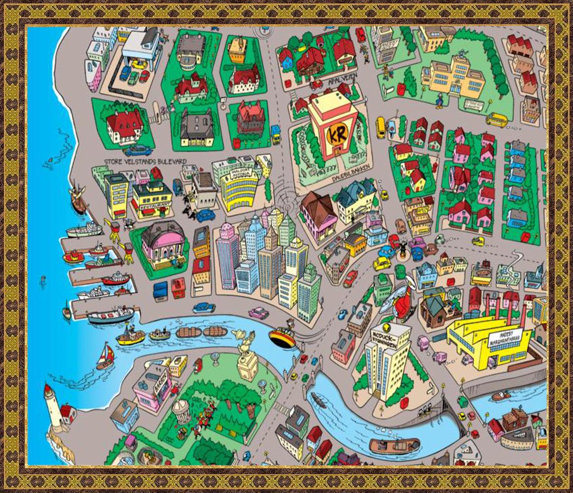 kart over andeby Dill & Dall fra verden rundt skolen kart over andeby