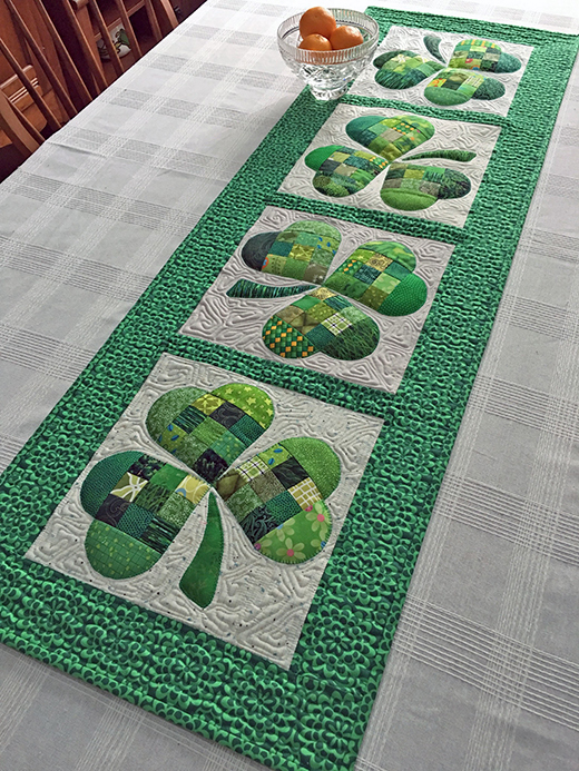 Shamrock Table Runner Free Pattern designed By Joan Ford of Hummingbird Highway for We All Sew