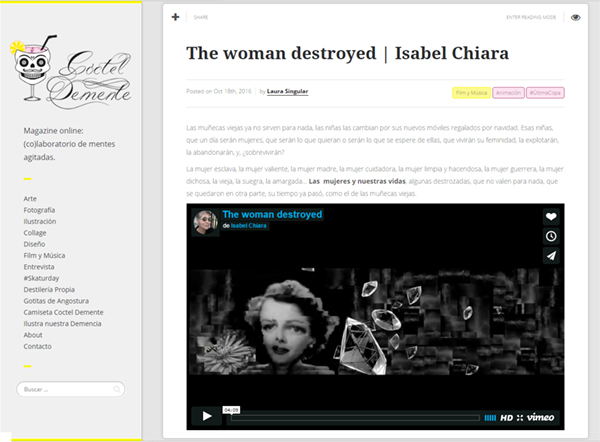 Videoart The Woman Destroyed by Isabel Chiara