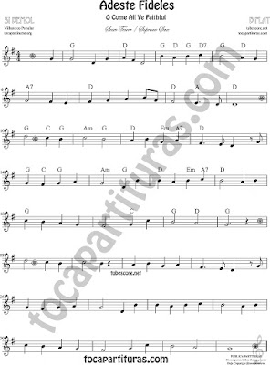 Adeste Fideles Sheet Music for Soprano Sax and Tenor Saxophone O come All Ye Faithful Music Scores Spartiti - Partition - Notes - Partiture