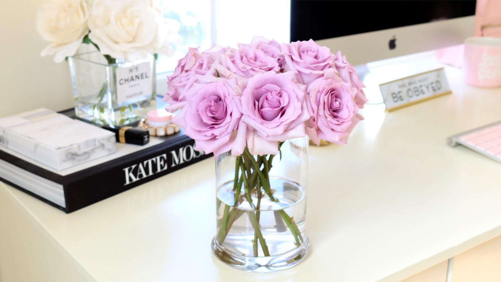 Purple Roses, Girly Desk, Desk Decor