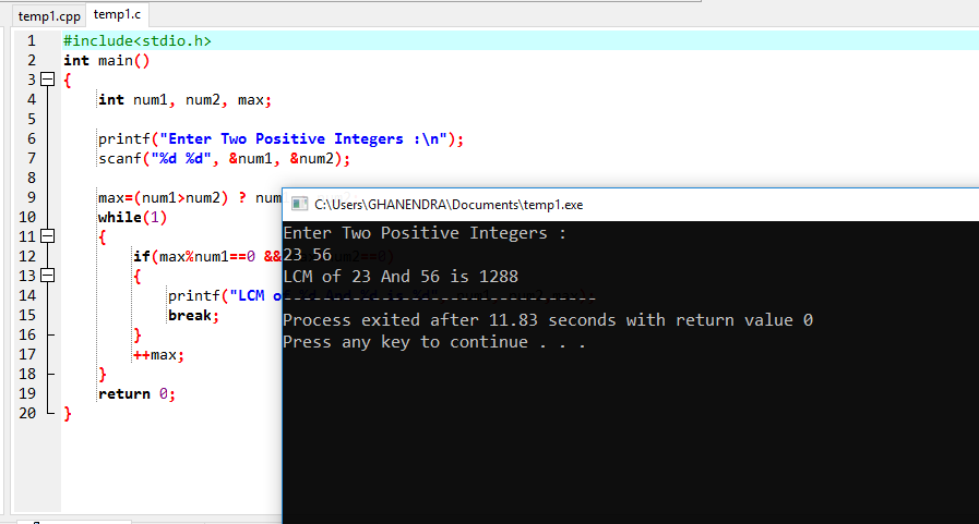 C Program to Find LCM of Two Numbers Using While Loop