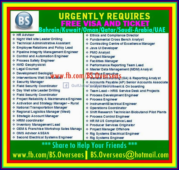 Urgently Required Free Visa Amp Ticket For Uae Bahrain
