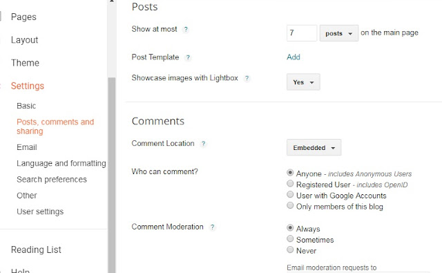 how to make settings on blog