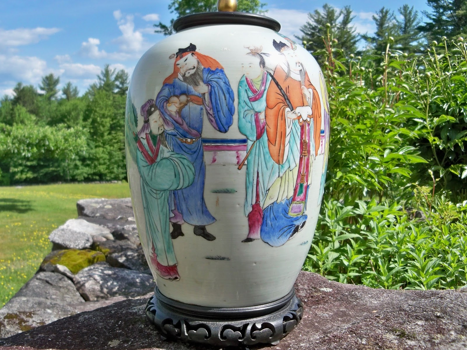 For sale vintage lamps goshen antiques and art pottery porcelain hand painted table lamp asian japanese design geotapseo Gallery
