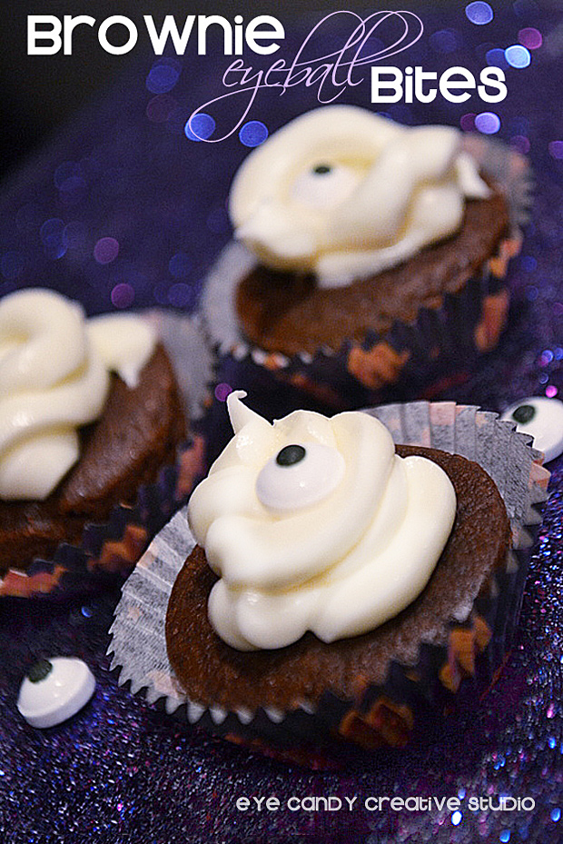brownie bites, eyeball, halloween food idea, halloween dessert idea