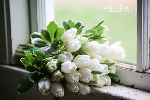 White tullips, wedding bouquet, flowers in the window, wedding shoot