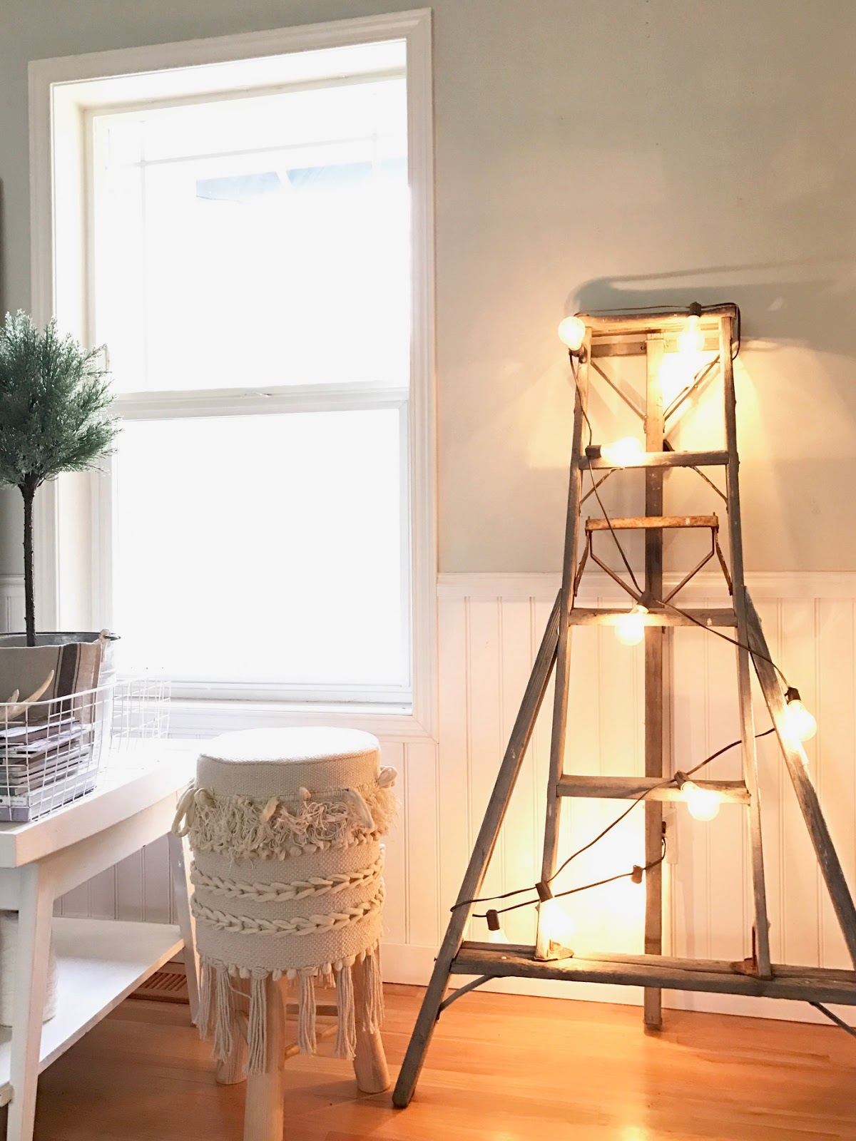 Trade The Twinkling Lights Of Last Monthu0027s Christmas Tree For One Or Two  Strands Of Globe Lights. I Strung Globe Lights On A Vintage Orchard Ladder  In Our ...