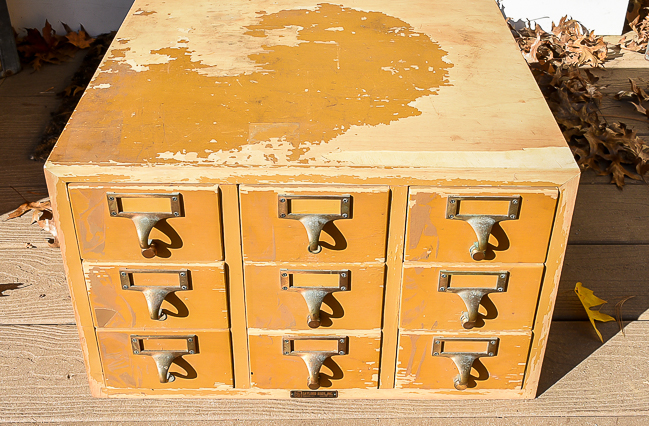 Damaged 9 drawer vintage card catalog before