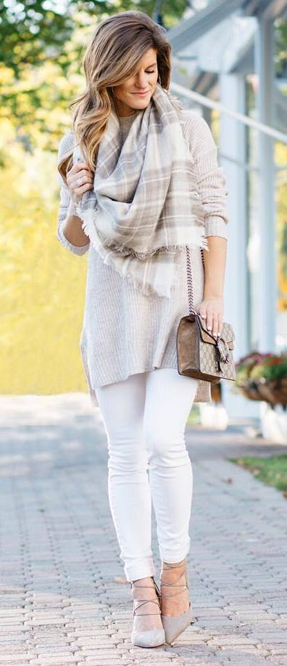 nude palettes | plaid scarf + sweater + skinnies + heels + bag