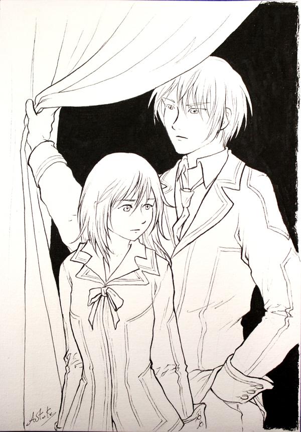 Yuri et Zero de Vampire Knight : noir et blanc