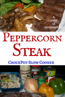 Peppercorn steak is a super easy and delicious dinner that is great to plop into the crockpot slow cooker on a busy day. The steak (can use chuck roast, too) simmers all day in a fantastic sauce made from Worcestershire sauce, tomato sauce, and Italian seasoning mixed in with lots of onion, bell pepper, and mushrooms. Delicious and super simple!