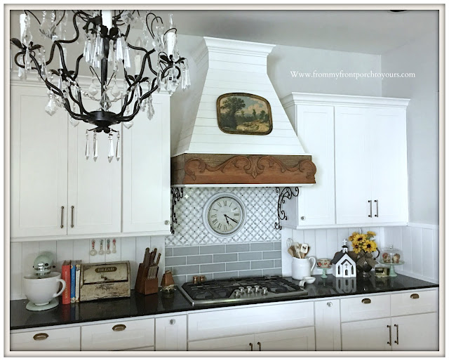 diy farmhouse kitchen updates-tongue and groove backsplash-white farmhouse kitchen-shiplap range hood-from my front porch to yours