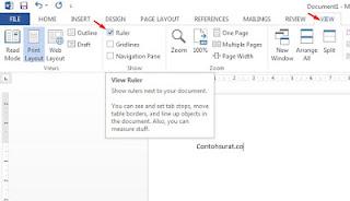 Cara Mudah Menampilkan Ruler di MS Word 2010/2013