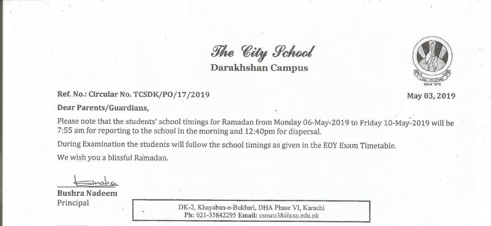 The City School Darakhshan Campus - Prep Boys Section: 2019