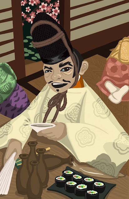 An illustration of a Japanese man having sake and sushi.