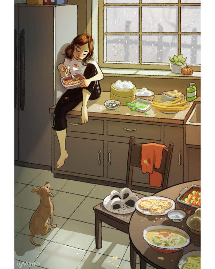 The Freedom of Living Alone in 16 Fascinating Drawings - Make a feast without being ashamed of your appetite.